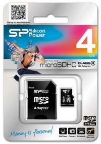MicroSD 4Gb Silicon Power Class4 (c адаптером)