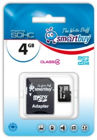 MicroSD 4Gb Smart Buy Class 4 (с адаптером SD)