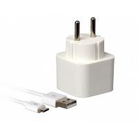 Сетевое ЗУ SmartBuy® VOLT Combo, 3.1 A, 2хUSB + кабель MicroUSB, бел (SBP-2150)