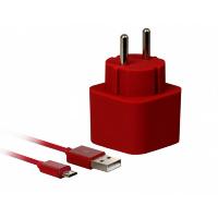 Сетевое ЗУ SmartBuy® VOLT Combo, 3.1 A, 2хUSB + кабель MicroUSB, темн.красн (SBP-2350)