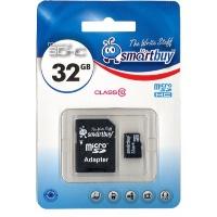 MicroSDHC 32GB Smart Buy Class 10 (с адаптером SD)