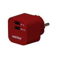 Сетевое ЗУ SmartBuy® VOLT, 3.1 A, 2хUSB, темн.красн (SBP-2300)