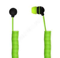Внутриканальные наушники SmartBuy® U.F.O. телефонный растягивающийся кабель зеленые
